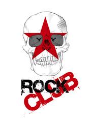 Rock club. Skull sketch & red grunge star. Vector design element