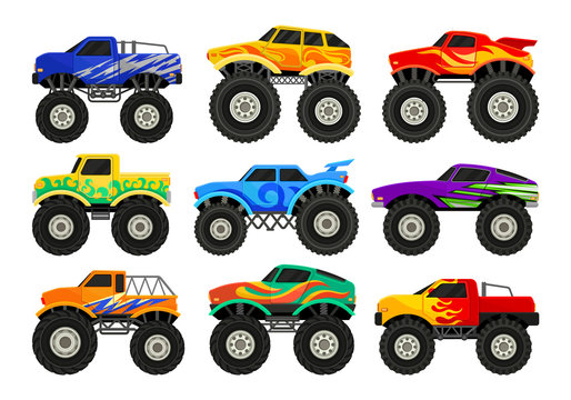 Set of monster trucks. Heavy cars with large tires and black tinted windows. Flat vector for advertising poster, computer or mobile game