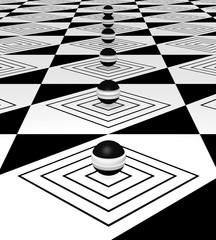 abstrakter Hintergrund mit schwarz-weißen Kugeln in einer Reihe. 3d render