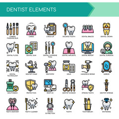 Dentist Elements , Thin Line and Pixel Perfect Icons.
