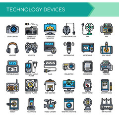 Technology Devices , Thin Line and Pixel Perfect Icons