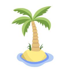 Palm tree on uninhabited island. Vector flat cartoon illustration