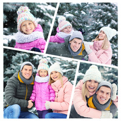Set with happy people in snowy park on winter vacation