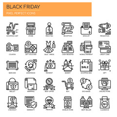 Black Friday , Thin Line and Pixel Perfect Icons.