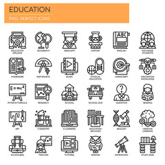 Education , Thin Line and Pixel Perfect Icons.