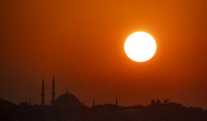 sun,sunrise and mosque silhouette in iatsnbul