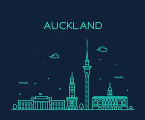 Wall Mural - Auckland city skyline New Zealand vector linear