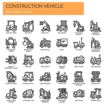 Construction Vehicle , Thin Line and Pixel Perfect Icons.