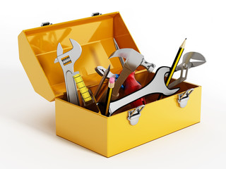 Yellow toolbox with hand tools. 3D illustration