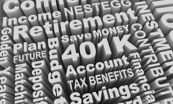 401K Retirement Savings Account Nestegg Word Collage 3d Illustration