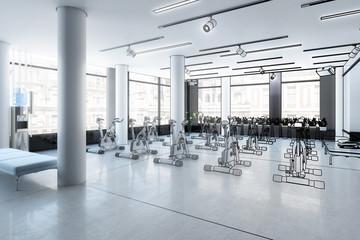 Ergometer im Fitness-Zentrum (Plan)