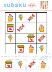 Sudoku for children, education game. Candy, Ice cream, Cake and Jam-jar.