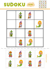 Sudoku for children, education game. Cartoon characters - Prince, Mermaid, Witch and Wizard