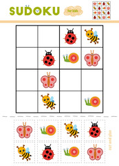 Sudoku for children, education game. Cartoon insects - Ladybug, Butterfly, Snail, Bee.