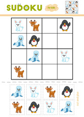 Sudoku for children, education game. Cartoon winter animals - Penguin, Rabbit, Deer, Walrus