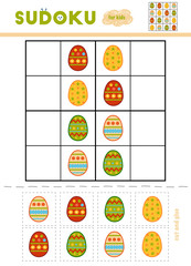 Sudoku for children, education game. Easter eggs