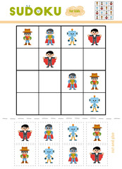 Sudoku for children, education game. Cartoon characters - Superhero, Sheriff, Robot, Vampire.