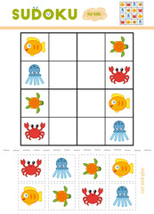 Sudoku for children, education game. Cartoon sea animals - Octopus, Turtle, Crab, Fish.