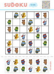 Sudoku for children, education game. Cartoon set of mittens.