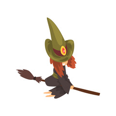 Cute little witch character in green hat flying with broom cartoon vector Illustration on a white background