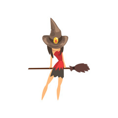Little witch character in a hat flying with broom cartoon vector Illustration on a white background