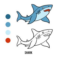 Coloring book for children, Shark