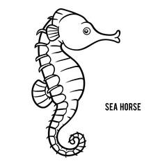 Coloring book, Sea horse