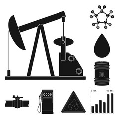 Oil industry black icons in set collection for design. Equipment and oil production vector symbol stock web illustration.