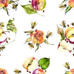 Pink, beautiful roses. Ripe, juicy apples. Honey bees. Watercolor. Illustration