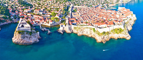 Historic city of Dubrovnik aerial panoramic view