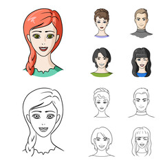Different looks of young people.Avatar and face set collection icons in cartoon,outline style vector symbol stock illustration web.