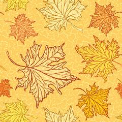 Vector grunge vintage background. Autumn leaves decoration.