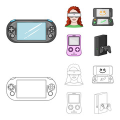 Game console and virtual reality cartoon,outline icons in set collection for design.Game Gadgets vector symbol stock web illustration.