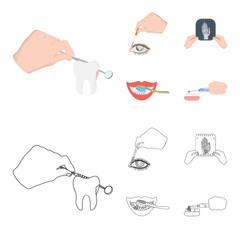 Examination of the tooth, instillation of the eye and other web icon in cartoon,outline style. A snapshot of the hand, teeth cleaning icons in set collection.