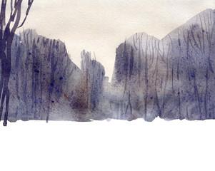 Winter forest. Watercolor landscape illustration.