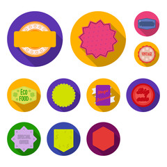 Different label flat icons in set collection for design. Index and brand vector symbol stock web illustration.