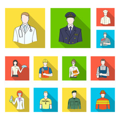 People of different professions flat icons in set collection for design. Worker and specialist vector symbol stock web illustration.