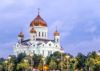 Moscow, Russia - July 25, 2018: Cathedral of Christ the Saviour, moskva river in the evening