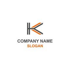 K letter initial black orange logo.