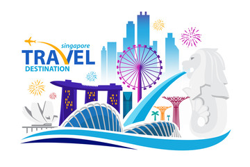 Singapore Travel Landmarks. Vector and Illustration.