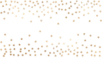 Vector background with confetti circles, small pieses of gold foil isolated on white. Modern element for wedding, celebration, party, anniversary, birthday, Valentine's Day designs.