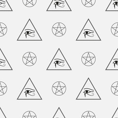 Seamless Pattern made from Mason symbols with pyramids and eyes, vector