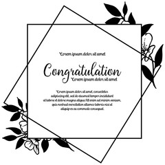 Congratulation template floral hand draw vector illustration