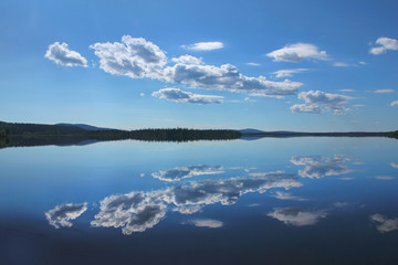 Perfect reflection from a Lapland lake