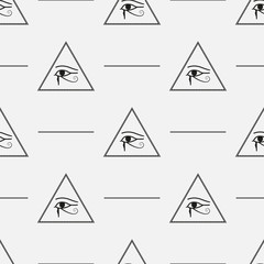 Seamless Pattern made from Mason symbols with pyramids and eyes, vector eps10