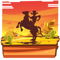 desert with silhouette of cowboy riding on the horse - vector