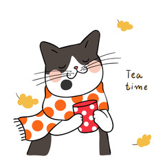 Draw black cat with beauty scarf in tea time for autumn season