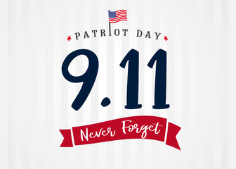 Patriot day USA 9/11, Never forget lettering on light stripes banner. Patriot Day, September 11, We will never forget text on light beams background