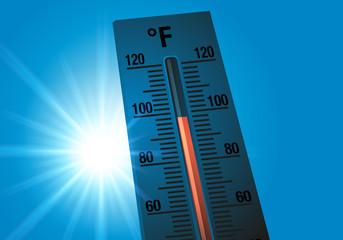 Thermomètre - température - canicule - chaleur - climat - environnement - écologie - soleil - été