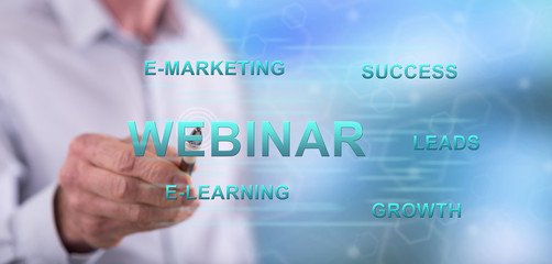 Man touching a webinar concept